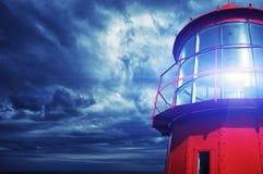 红色灯塔 库存照片