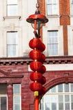 红色灯笼在中国区,唐人街,伦敦,英国 库存照片