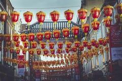 红色灯笼在伦敦 图库摄影