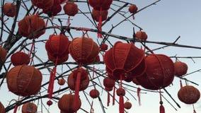 红色灯笼在古镇会安市 股票录像