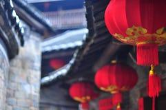 红色灯笼在客家圆的房子 图库摄影