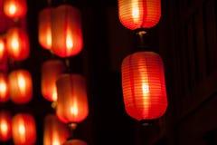红色灯笼在晚上 库存照片