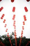红色灯笼装饰风景 免版税库存照片