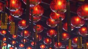红色灯笼Cinemagraph在中国寺庙的 股票录像
