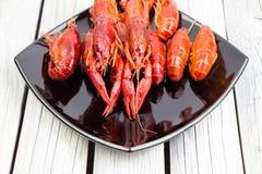 红色煮沸了crawfishin在白色木背景的黑长方形板材 土气样式 海鲜 蒸的小龙虾 库存图片