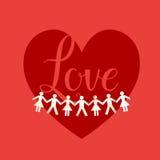 红色爱字法和纸人群 向量例证