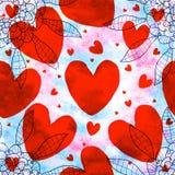 红色爱形状无缝的样式 库存照片