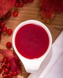 红色狂放的莓果调味汁 库存照片