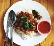 红色猪肉和米 库存照片