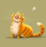 红色猫和蝴蝶 库存照片