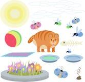 红色猫的抽象例证与玩具的在白色背景 库存照片