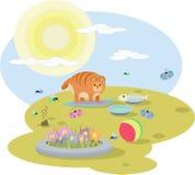 红色猫的抽象例证与玩具的在草甸在晴天 图库摄影