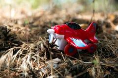 红色玩具飞机反对,叶子背景  免版税库存图片