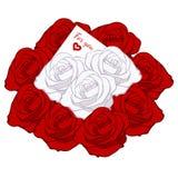 红色玫瑰、白色玫瑰和消息卡片逗人喜爱的花束  库存图片