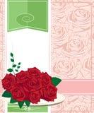 红色玫瑰。生日快乐卡片 免版税库存照片