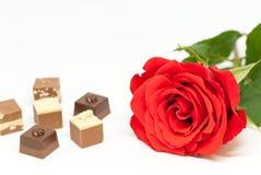 红色玫瑰和各种各样的巧克力形状在白色背景爱言情华伦泰` s天概念 免版税库存照片