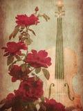 红色玫瑰和小提琴 皇族释放例证