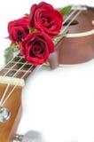 红色玫瑰和尤克里里琴 库存图片