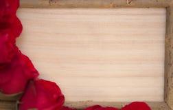 红色玫瑰和木板 免版税图库摄影