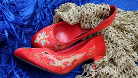 红色玫瑰和鞋子混合文化 免版税图库摄影