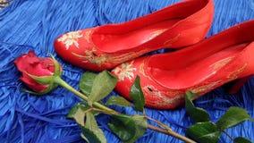 红色玫瑰和鞋子混合文化 免版税库存照片