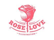 红色玫瑰商标-导航例证,在白色背景的象征 库存照片