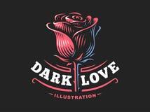 红色玫瑰商标-导航例证,在黑暗的背景的象征 图库摄影