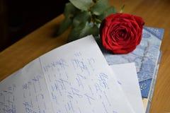 红色玫瑰在爱说谎 免版税库存图片