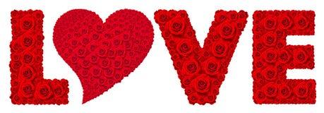 红色玫瑰在词爱的花集合被隔绝的 免版税库存图片