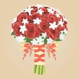 红色玫瑰婚礼花束 库存图片