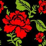 红色玫瑰无缝的样式 是能使用的另外花卉例证目的纹理 俄国民间装饰品 库存照片