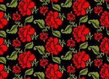 红色玫瑰无缝的样式 是能使用的另外花卉例证目的纹理 俄国民间装饰品 免版税库存图片