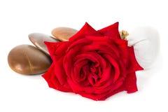 红色玫瑰肥皂,草本温泉概念白色背景 免版税库存图片