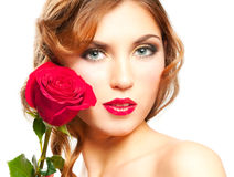红色玫瑰色妇女 库存照片