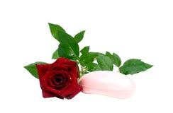红色玫瑰色肥皂 图库摄影