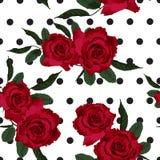 红色玫瑰花卉无缝的样式纹理 库存例证