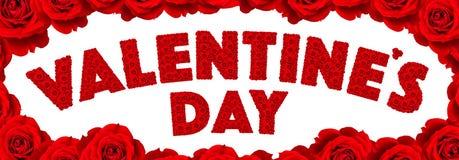 红色玫瑰花在词Valentine's天设置了 库存图片