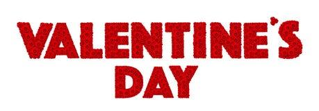 红色玫瑰花在词Valentine's天设置了 免版税图库摄影