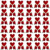 红色玫瑰花瓣心脏华伦泰 库存图片