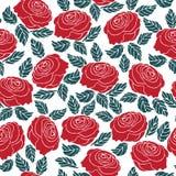 红色玫瑰花的无缝的样式 向量例证