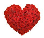 红色玫瑰花花束心脏形状 免版税库存图片