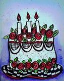 红色玫瑰蛋糕例证 免版税库存照片