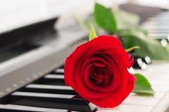 红色玫瑰钢琴锁上浪漫背景 库存图片
