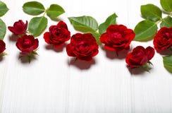 红色玫瑰 在一张白色deoevian桌上的美丽的花 库存图片