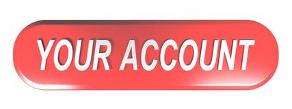 红色环绕了长方形按钮您的帐户- 3D翻译 皇族释放例证