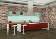红色现代厨房在有石墙的一间屋子里 向量例证