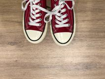 红色现代运动鞋 库存照片