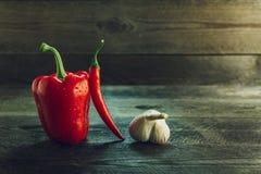 红色甜椒、辣椒和大蒜在一张木桌上 免版税库存照片
