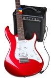 红色电吉他和放大器 免版税库存图片