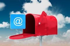 红色电子邮件邮箱的综合图象 库存图片